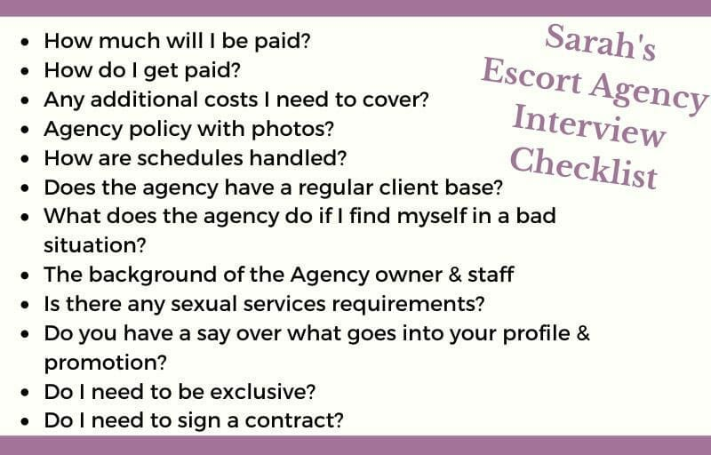 Escort Agency Advice Checklist